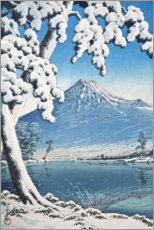 Premium poster Fuji after the snow in Tagonoura Bay