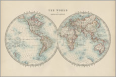 Wood print  World Map 19th Century (English) - Alexander Keith Johnston