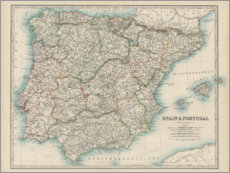 Wood print  Spain, Portugal 19th century - Alexander Keith Johnston