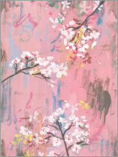 Wood print  Cherry blossoms on pink - Melissa Wang