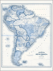 Premium poster  South America in blue tones - Vision Studio