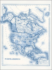 Wood print  North America in blue tones - Vision Studio