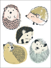 Premium poster  Cute hedgehogs II - June Vess
