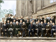 Wood print  Fifth Solvay Conference, 1927 (colored)