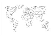 Premium poster Geometrical world map