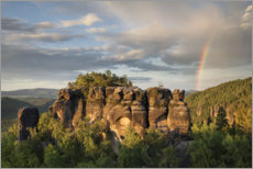 Aluminium print  Rainbow over Saxon Switzerland - Tobias Richter