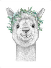 Premium poster  Alpaca with wreath - Nikita Korenkov