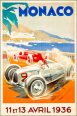 Wood print  Grand Prix of Monaco 1936 (French) - Travel Collection