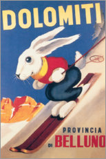 Premium poster  Rabbit on skis, Dolomiti (Italian) - Travel Collection