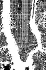 Wood print  City plan of New York - PlanosUrbanos