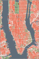 Gallery print  City plan of New York, colorful - PlanosUrbanos