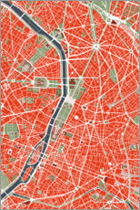 Wood print  City map of Paris, colorful - PlanosUrbanos