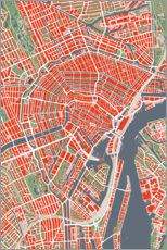 Canvas print  Colourful city map of Amsterdam - PlanosUrbanos