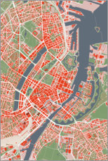 Aluminium print  City map of Copenhagen, colorful - PlanosUrbanos