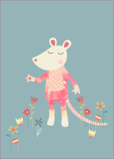 Wood print  Flower Mouse - Nic Squirrell