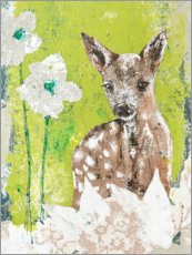 Gallery print  Fawn with flowers - Kerstin Ax