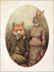 Wood print  Mr. Fox and Mrs. Rabbit - Mike Koubou