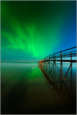 Premium poster Northern Lights reflected in Lake Winnipeg