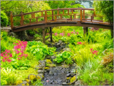 Gallery print  Japanese garden with brook and bridge - Sylvia Gulin