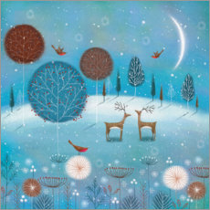 Wood print  Winter night in the forest - Jo Parry