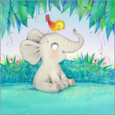 Premium poster  Elephant with a little friend - Ela Jarzabek
