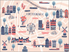 Premium poster Map of Amsterdam