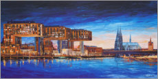 Gallery print  Cologne view, crane houses and cathedral - Renate Berghaus