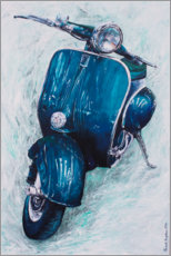 Wood print  Dark blue Vespa - Renate Berghaus
