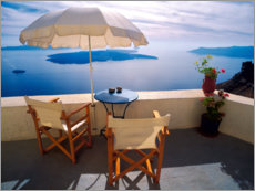 Canvas print  Balcony with sea view in Oia - Jaynes Gallery