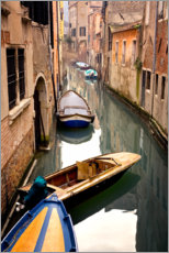 Wood print  Gondolas are in the canal - Jaynes Gallery