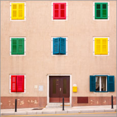 Premium poster Building with colorful shutters