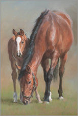 Canvas print  Mare with a foal - Jacqueline Stanhope