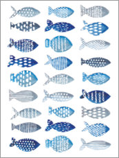 Wood print  Many blue fish - Faye Buckingham