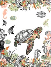 Wall sticker  Sea turtle in the coral reef - MiaMia