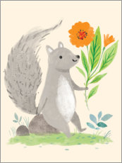 Aluminium print  Squirrel with flowers - Kathryn Selbert