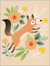 Premium poster  Fox with flowers - Kathryn Selbert