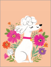 Wall sticker  Poodle with flowers - Kathryn Selbert
