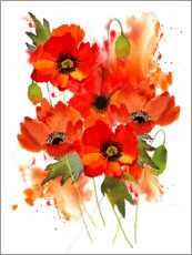 Gallery print  Poppy bouquet - Rachel McNaughton