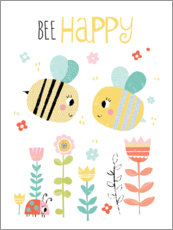 Foam board print  Bee Happy - Louise Anglikas