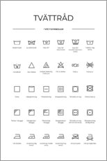 Canvas print  Washing and care symbols (Swedish) - Typobox