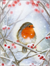 Wood print  Little robin - Lisa Alderson