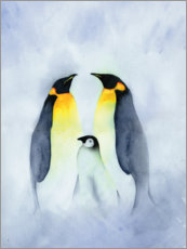 Wood print  Penguin family - Ray Shuell