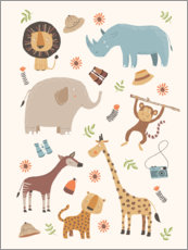Wood print  Safari Animals - Marta Munte