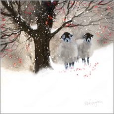 Wood print  Winter sheep - Rachel McNaughton