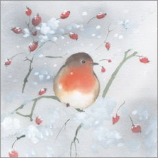 Wall sticker  Robins in winter - Ray Shuell