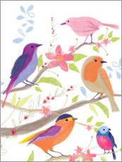 Wood print  Colorful birds - Sophie Hanton