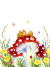 Acrylic print  Mouse on a fly agaric - Lisa Alderson