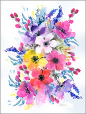 Wall sticker  Colorful meadow bouquet - Rachel McNaughton