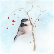 Wood print  Tit in winter - Ray Shuell