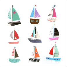 Premium poster Nine sailboats